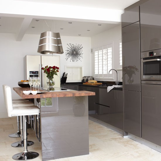 Mad about grey kitchens for Kitchen units grey gloss