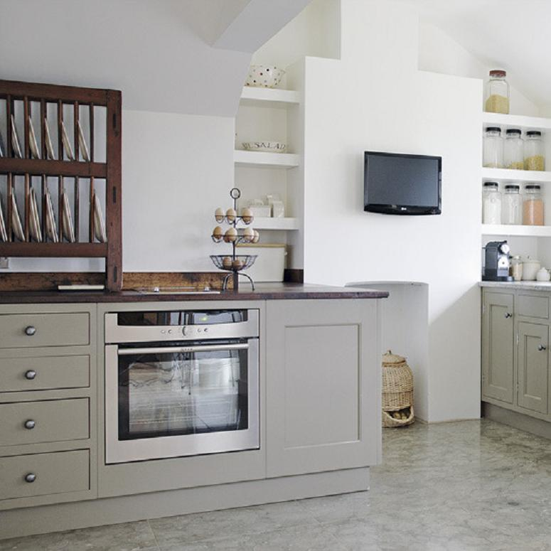 Grey Kitchen Cabinets With Blue Walls