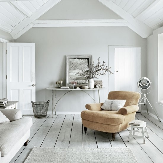 Paul Massey's pale grey living room