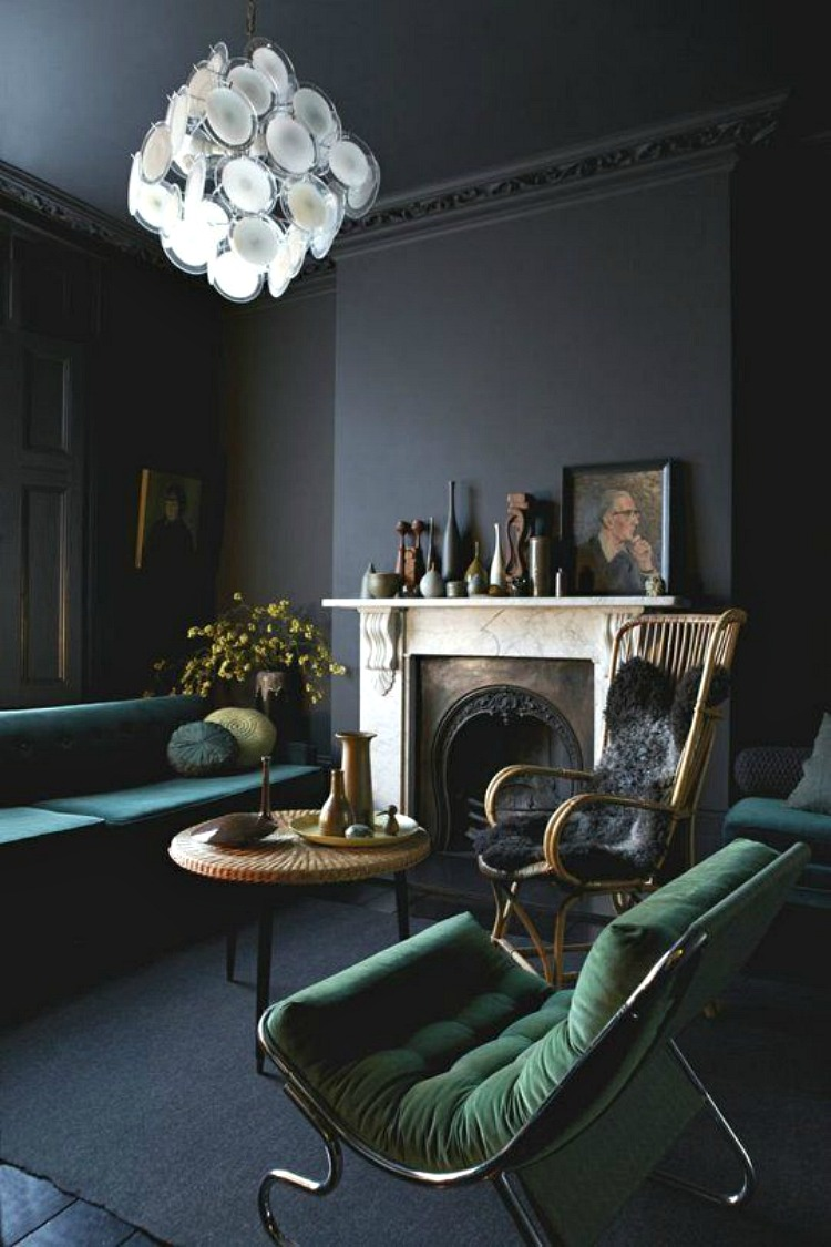 dark grey walls make for a dramatic and cosy space and will make the
