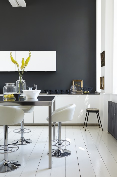 dark grey kitchen by little greene lamp black and loft white