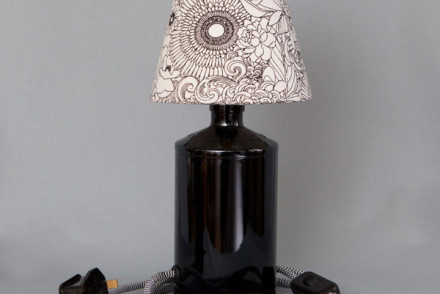 upcycled table lamp glass base