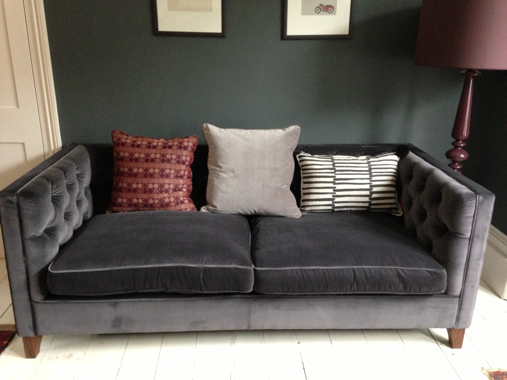 Grey velvet sofa for Furniture sofas and couches