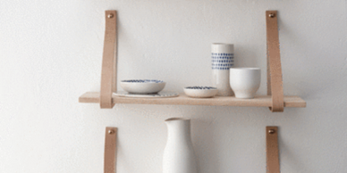 Wood Shelves with Leather Straps