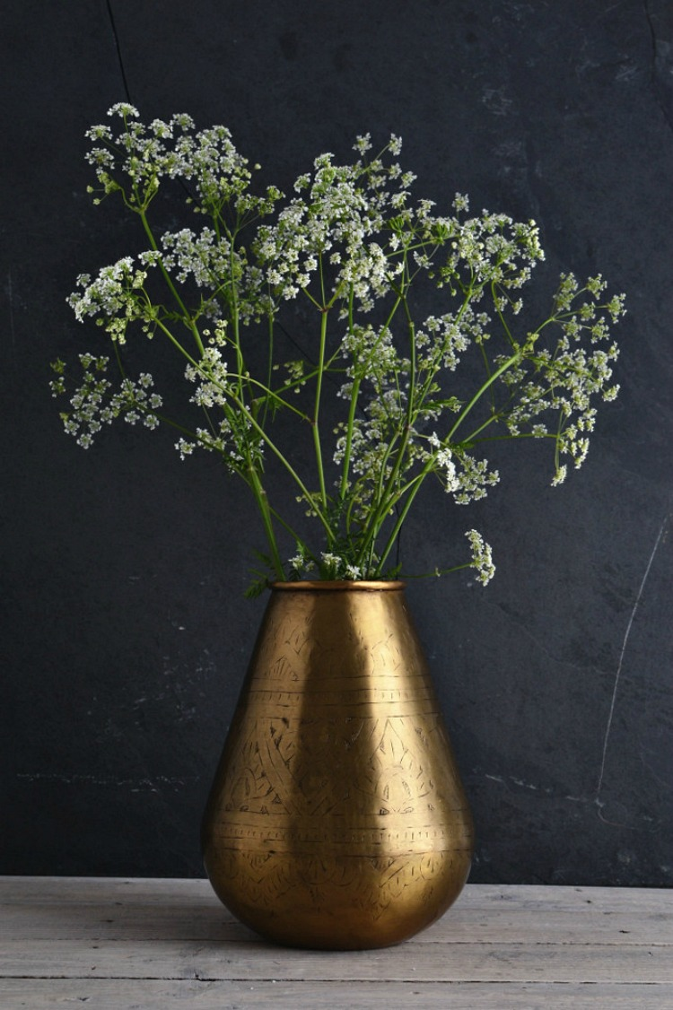 hand-etched brass vase from decorators notebook