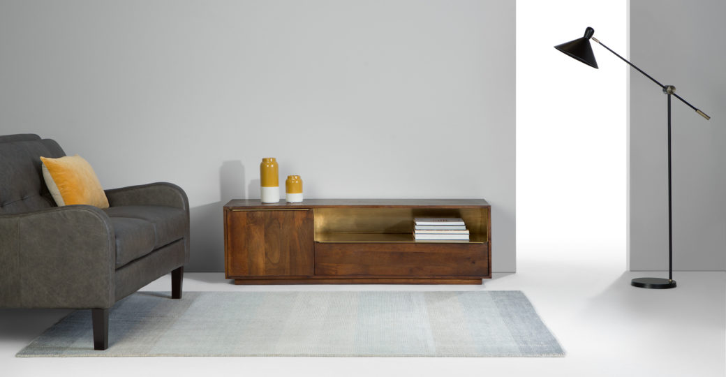 wood and brass sideboard from made.com