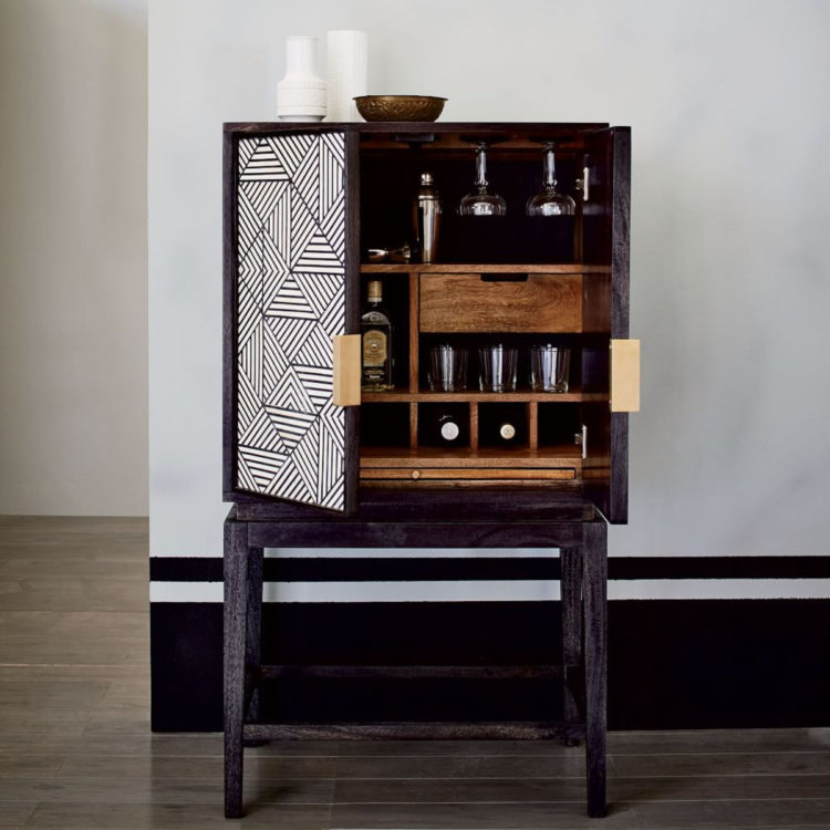 Modern Home Bar Cabinet: Black And White Inlaid Drinks Cabinet
