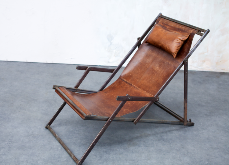 leather deck chair from house curious