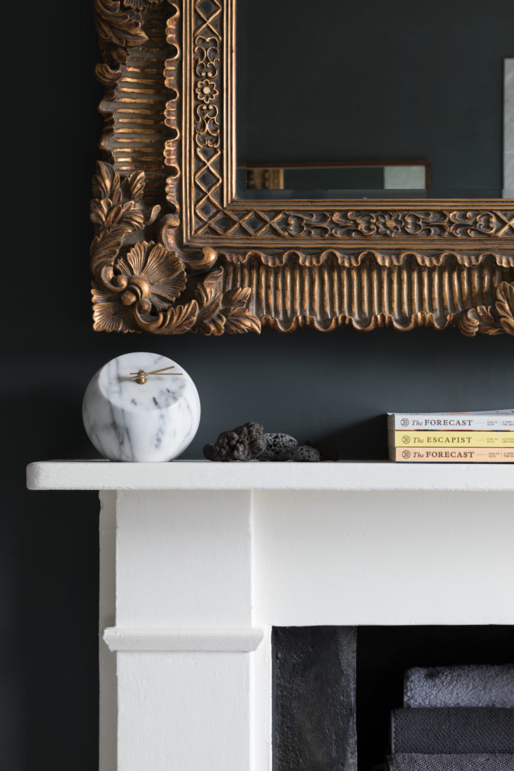 dark walls and gold mirror by Paul Craig styled by Kate Watson-Smyth