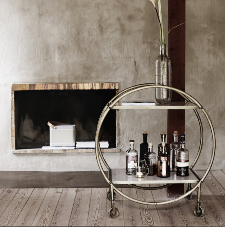 round brass and marble bar cart