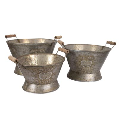set of three zinc containers