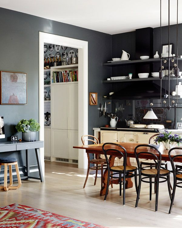 The Melbourne Home Of Fiona Richardson And Family Has Dark Grey Walls Vintage Chair