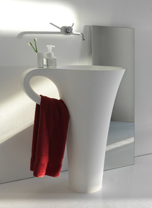 the cup basin where the handle becomes a handy towel rail