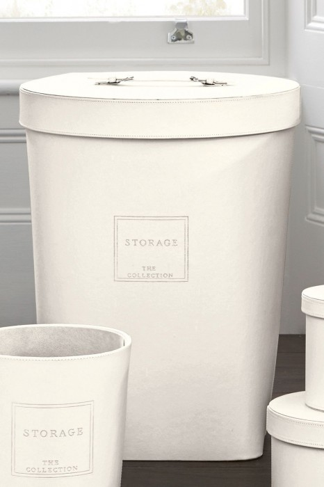 White Leather Laundry Bin From Next