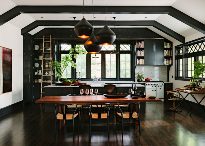 library house by jhinteriordesign.com black beams black and brass lights