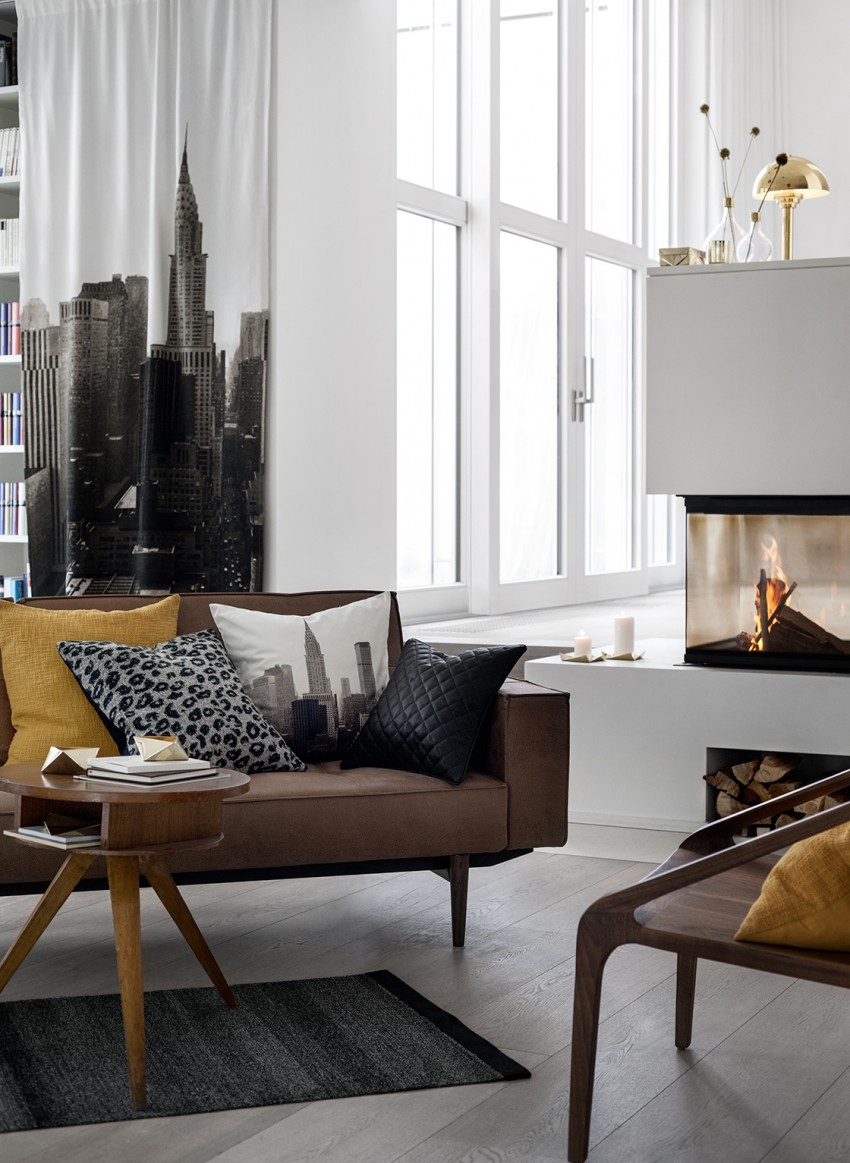 mid century modern inspiration with flashes of old gold and animal print, quilting and building