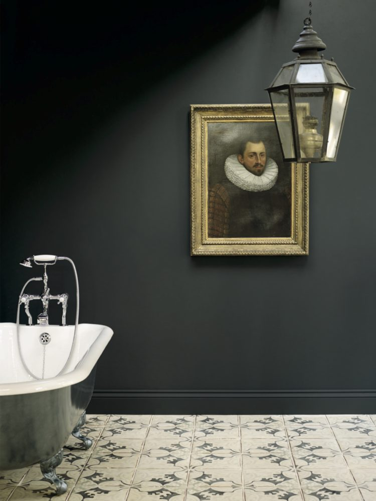 Dark Painted Walls In Bathroom