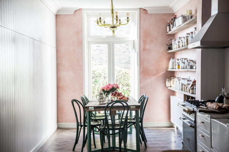 pink plaster walls at skye mcapline's london home via jersey ice cream co