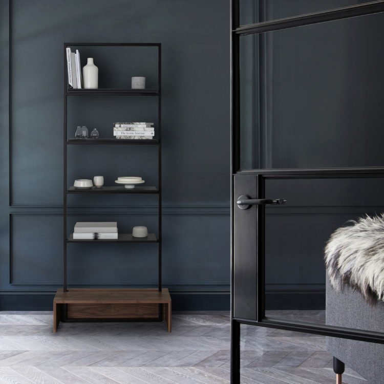 [MannMade London] Battersea collection, lifestyle, Northcote shelves, dark, £785