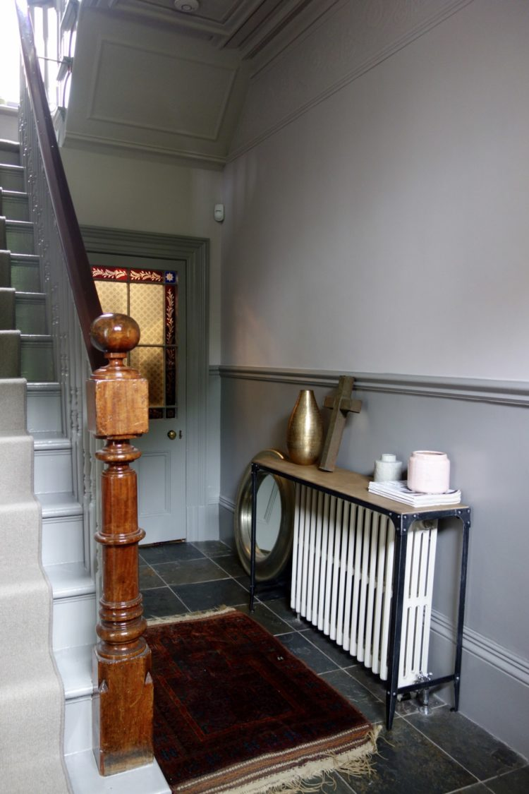 hall painted in worsted and peignoir by farrow and ball via karen knox of making-spaces.net