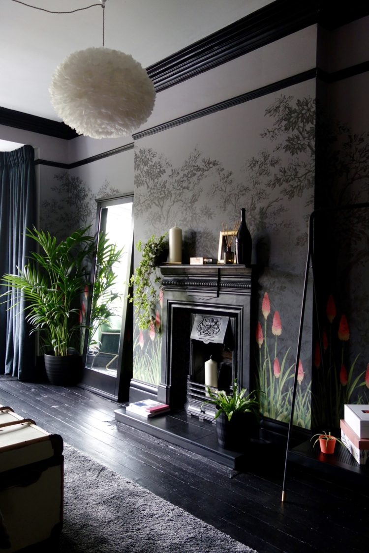black bedroom with plants by karen knox