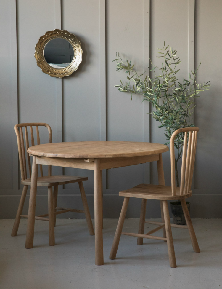 nordic round extending table from rose & grey