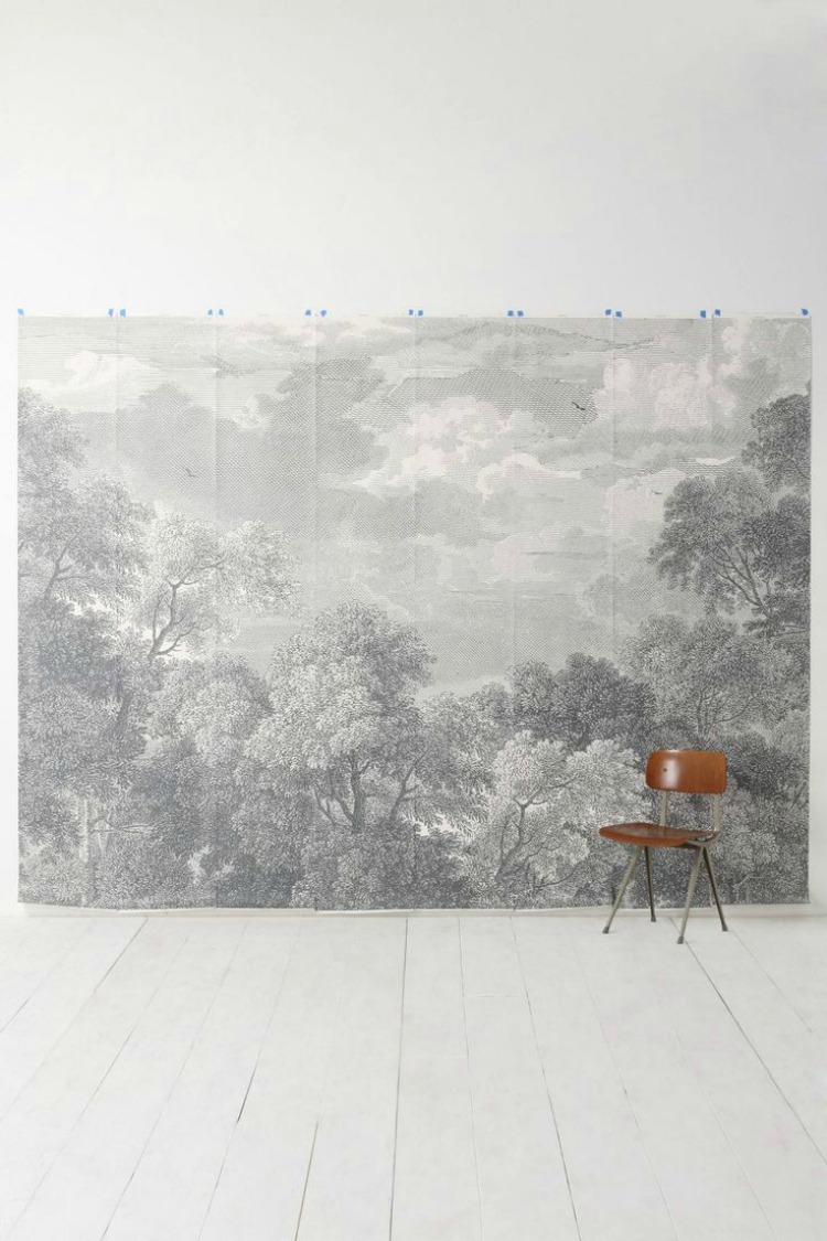 etched arcadia mural wallpaper from anthropologie