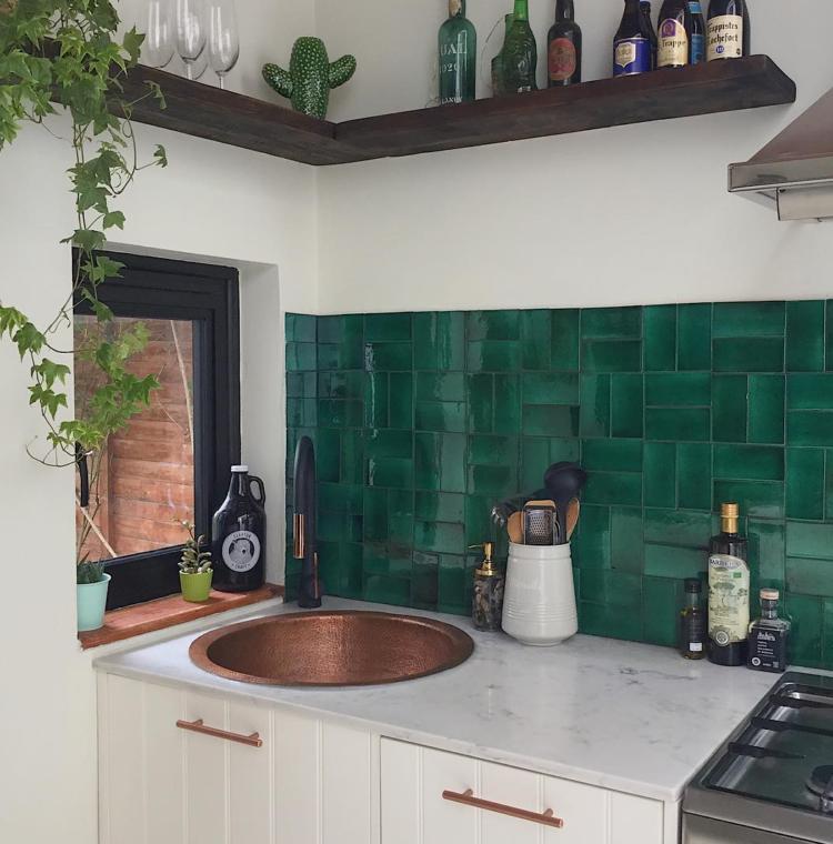 green kitchen tiles via Emilie Fournet
