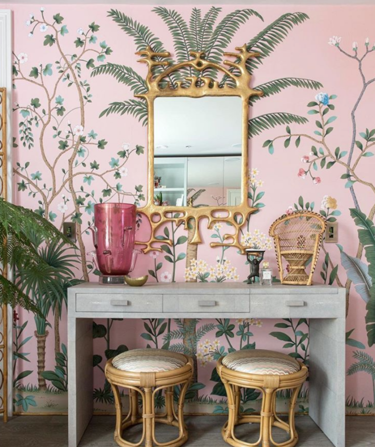 de gournay wallpaper in the holiday house raising money for breast cancer