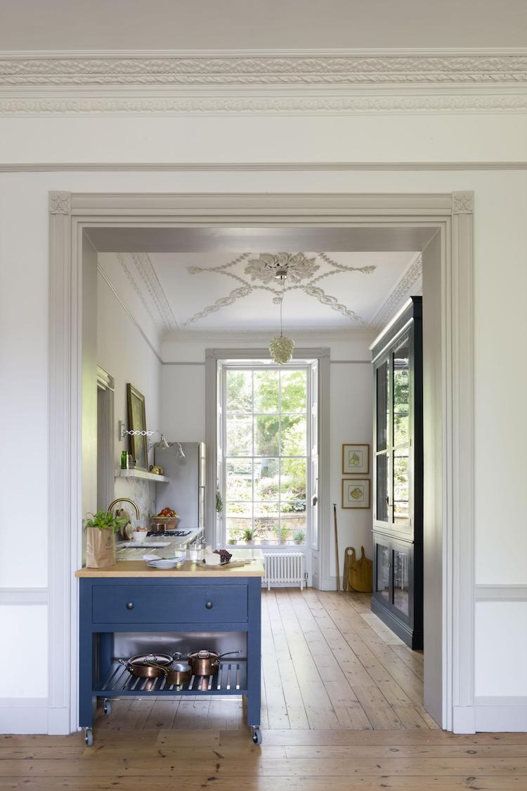 blue kitchen with plasterwork ceiling by paul craig
