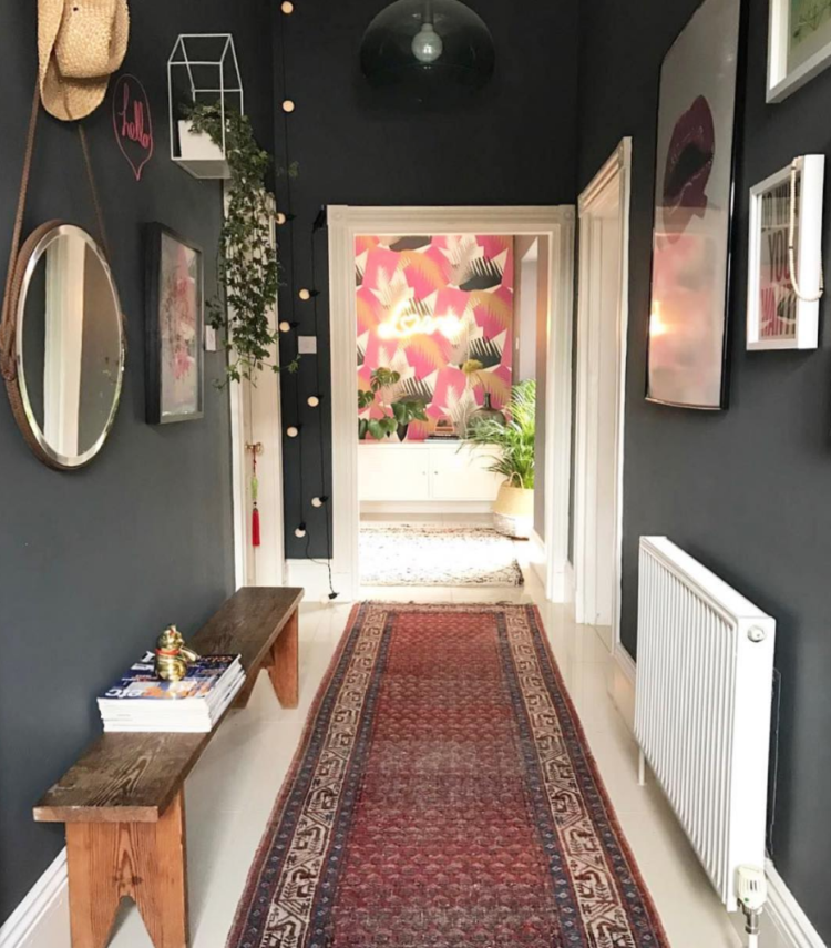 dark grey hall with vintage rug by Lisa Dawson