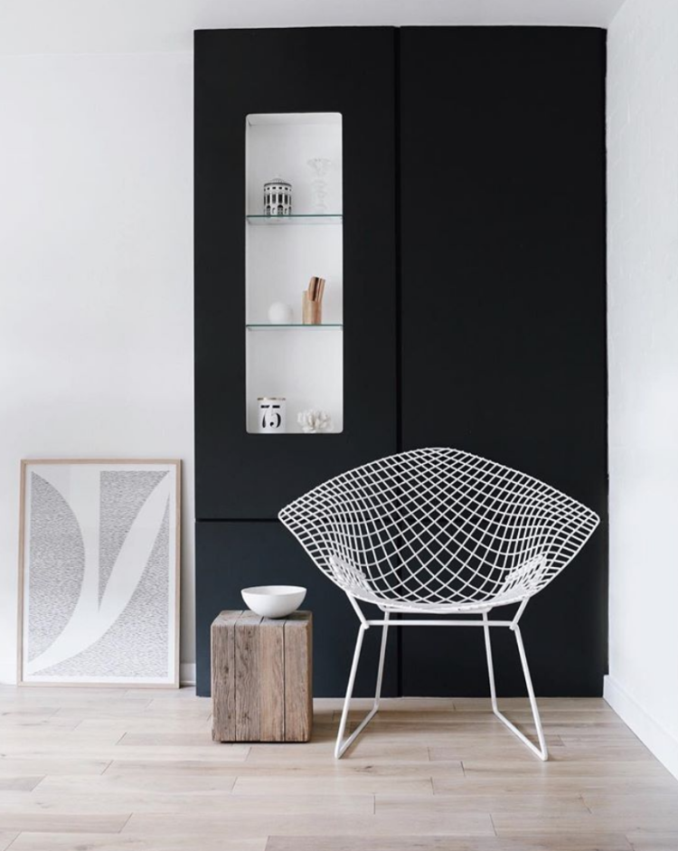 dark walls and white chair minimalisem by helen powell