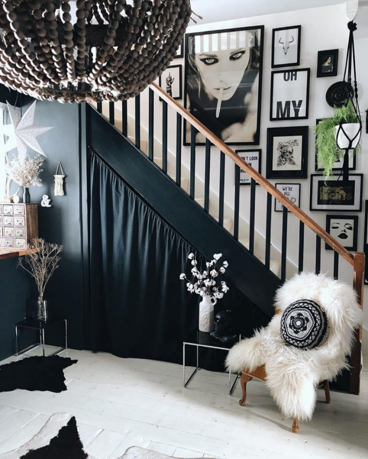 black and white staircase with gallery wall by Kyla Magrath