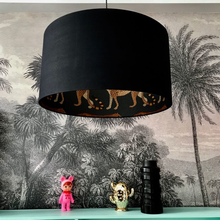 black and leopard lampshade