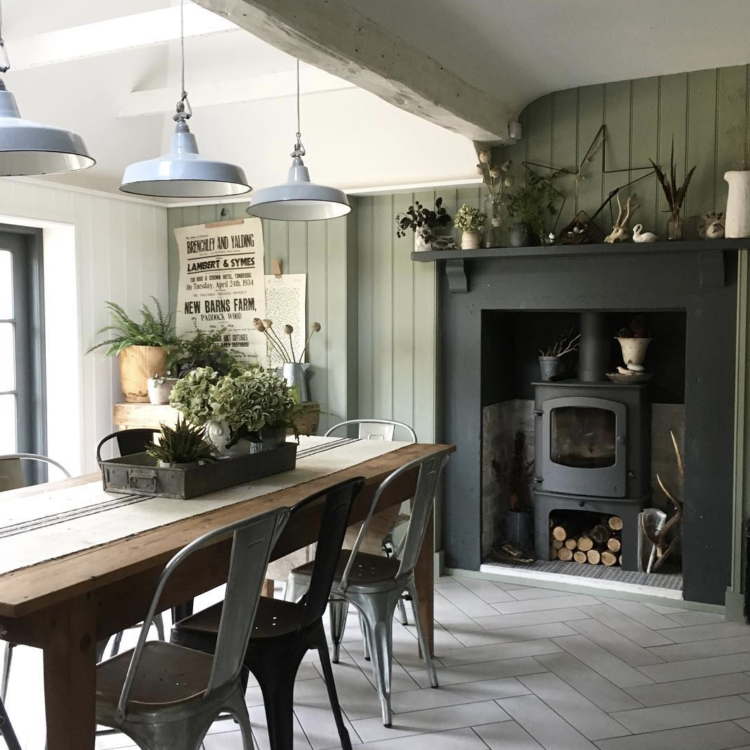 green kitchen with woodburning stove by @marienichols