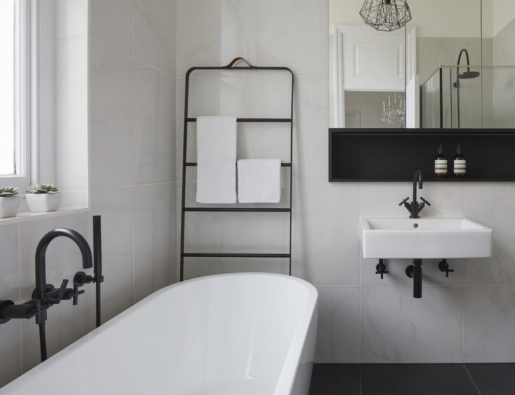 black and white bathroom by cherie lee interiors