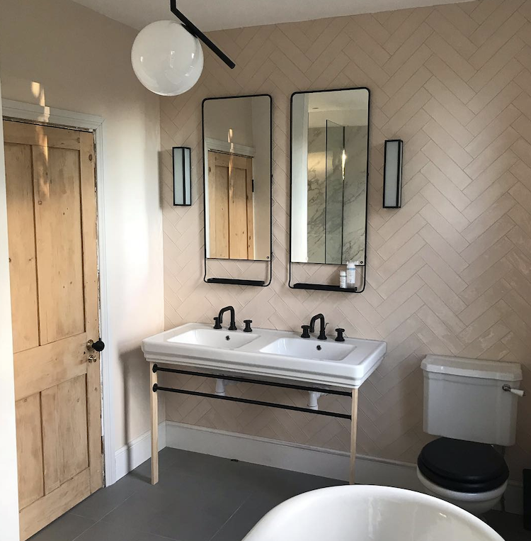 pink herringbone tiles via @renovating_a_nightmare