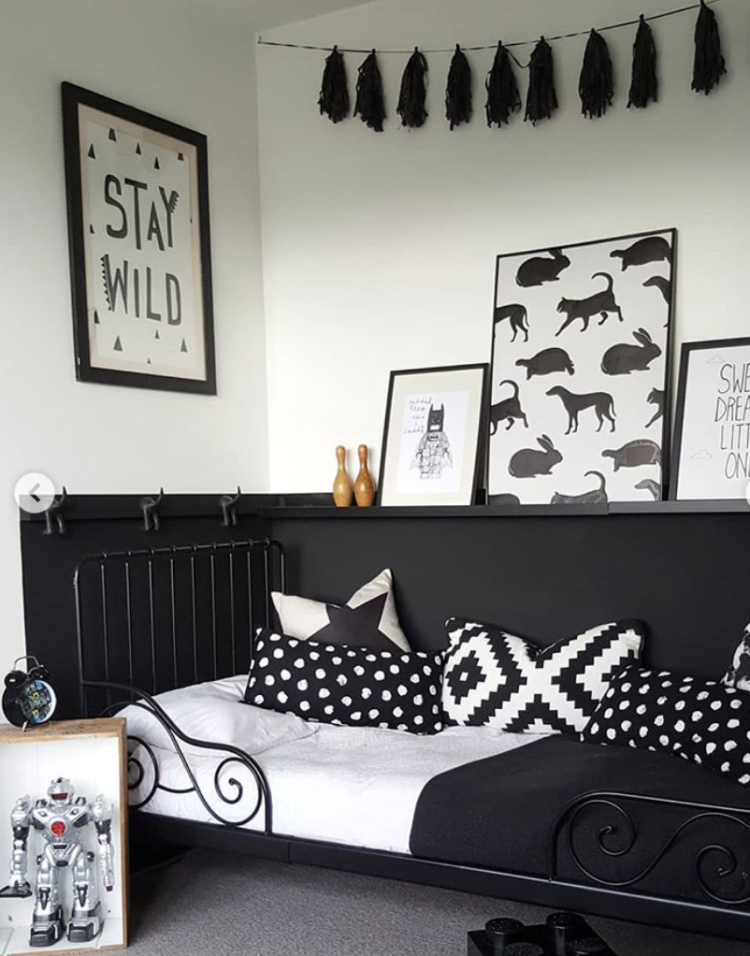 black and white kids bedroom by @e.t.shown_home