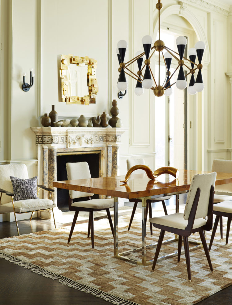 Jonathan Adler's Bond dining table, Camille dining chairs in Stone linen, Puzzle mirror, Caracas 16 light chandelier