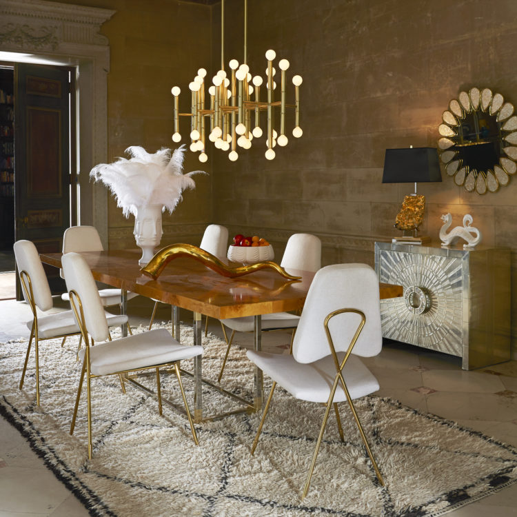 Bond dining table, Meurice rectangle chandelier all designed by Jonathan Adler
