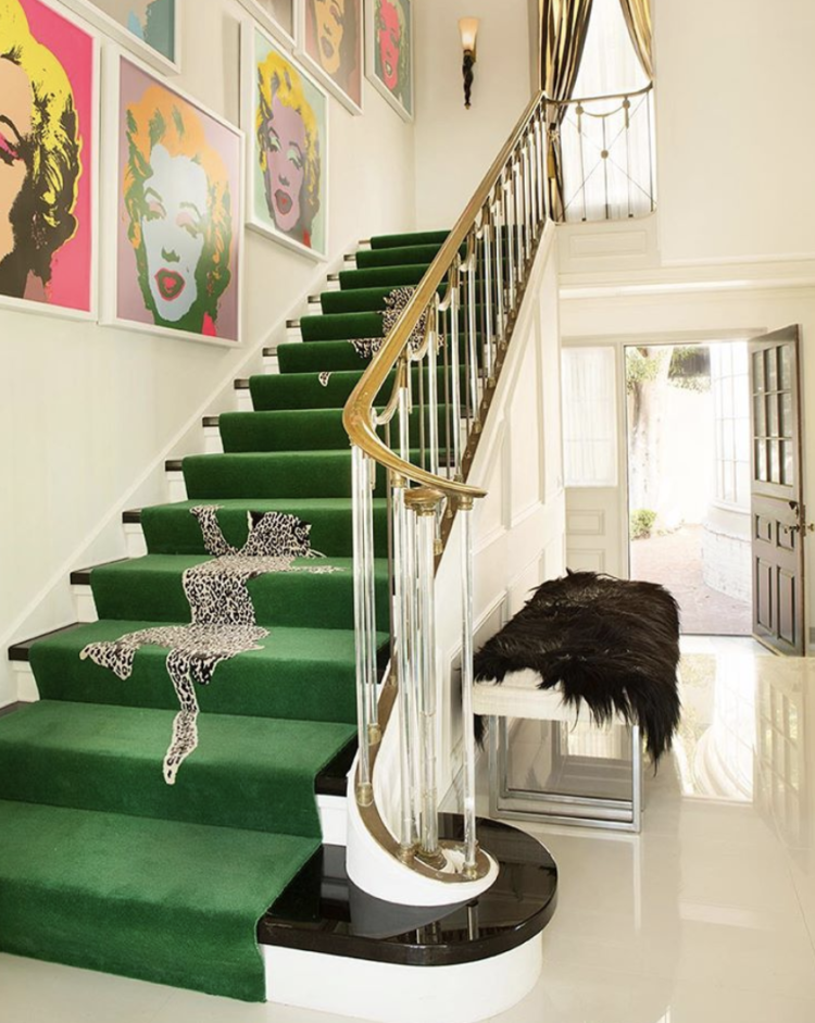 design by woodson & rummerfield greeen leopard stair runner
