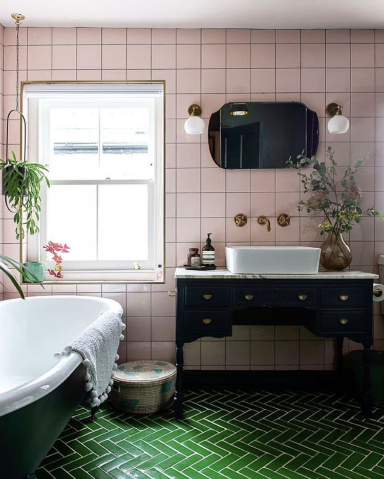 pink and green bathroom belonging to @maxmademedoit and photographed by jemima watts