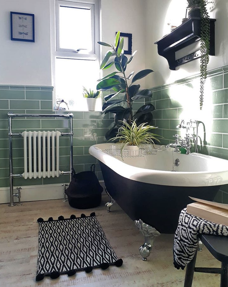 Black White And Green Bathroom By