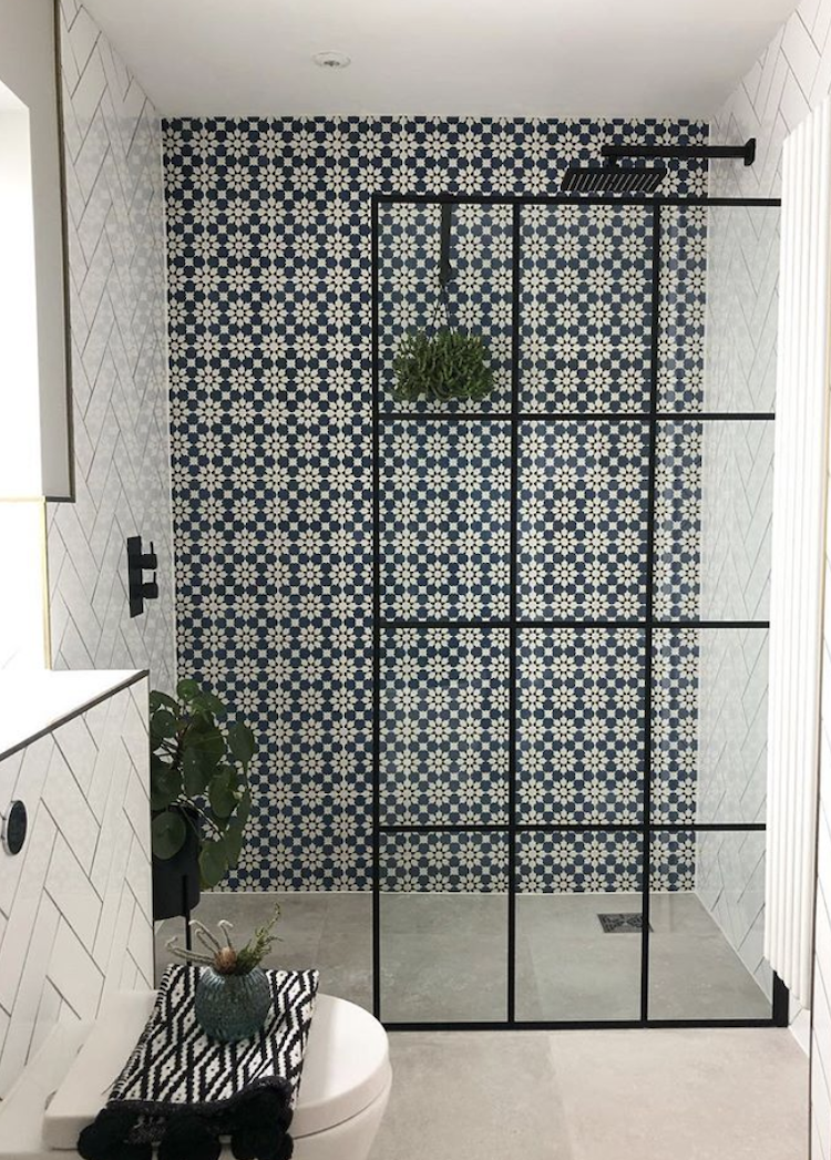 patterned tiles from claybrook studio in the bathroom of lucy j whitehouse