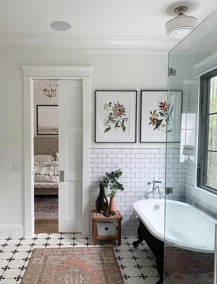metro tiles bathroom by @blackard_modernfarmhouse