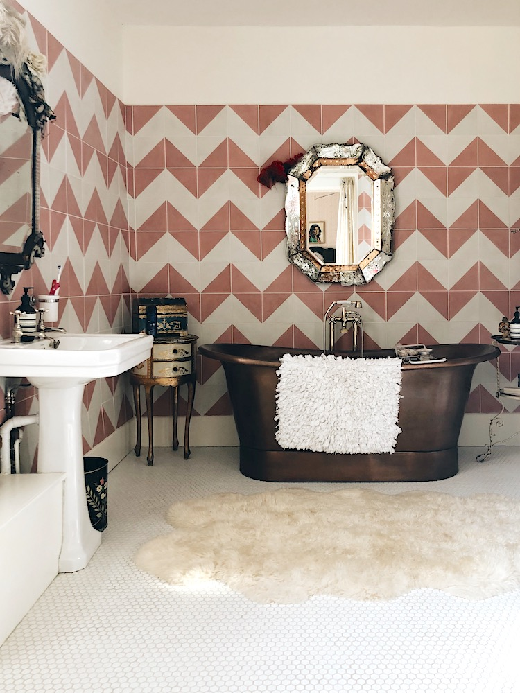 pink and white chevron tiles at the home of pearl lowe