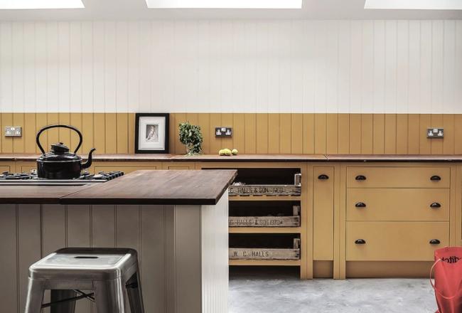 mustard kitchen by british standard cupboards