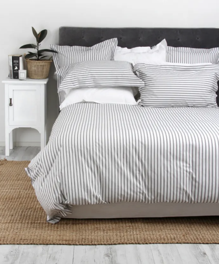 wallace cotton organic striped ticking duvet cover