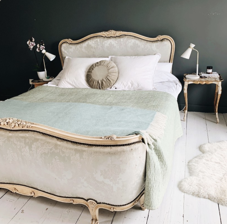 green bedroom and french bed via emily wheeler interiors
