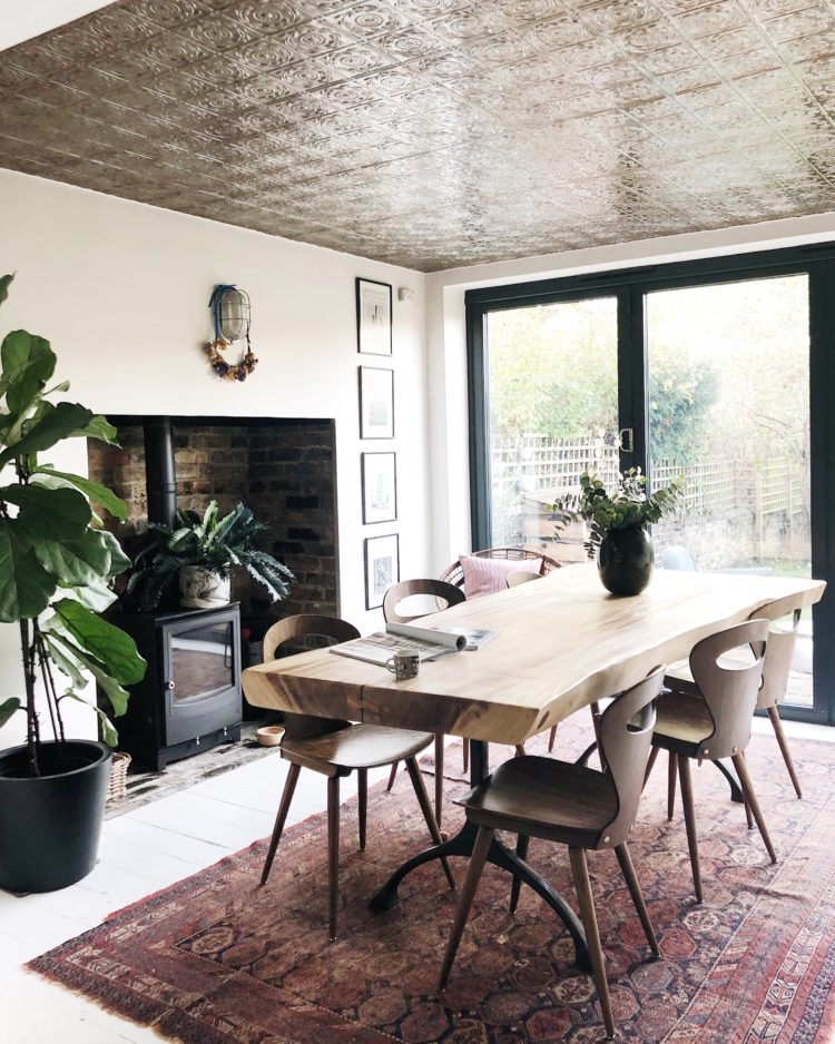 Kate Watson-Smyth seeks out her top ten vintage shops and top tips for buying vintage. Her wooden kitchen chairs were found on eBay and fit her wooden dining table perfectly. #vintage #madaboutthehouse.com #dining